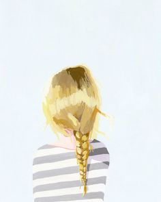 Elizabeth Mayville has perfectly captured the sweetness of little young ladies and their loose blonde braids. Your little girl will love a portrait that looks just like her from behind with her name prettily painted on top. Each piece of Oopsy Daisy wall Illustrations, Illustration Art, Blonde Braids, Oui Oui, Gouache Painting, Painting Art, Small Paintings, Hair Art, Art Images