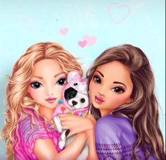 Rapunzel and Bell Best Friend Drawings, Girly Drawings, Cute Kawaii Drawings, Bff Pics, Disney Princess Drawings, Disney Princess Art, Anime Best Friends, Cute Friends, Best Friend Pictures