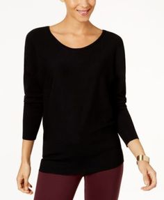 Thalia Sodi Laced-Back Sweater, Created for Macy's - Black XXL