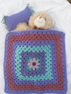 Free Crochet Pattern For American Girl Sleeping Bag : Granny Square American girl doll blanket...Crochet 18 ...