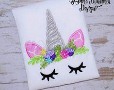 Unicorn Face, Applique Design, Machine Embroidery Design, Rainbow, Girl Applique, Floral Embroidery, 4x4, 5x5,  5x7, 6x10 #EM107