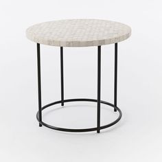Mosaic Tiled Side Table - White Marble Top + Metal Base