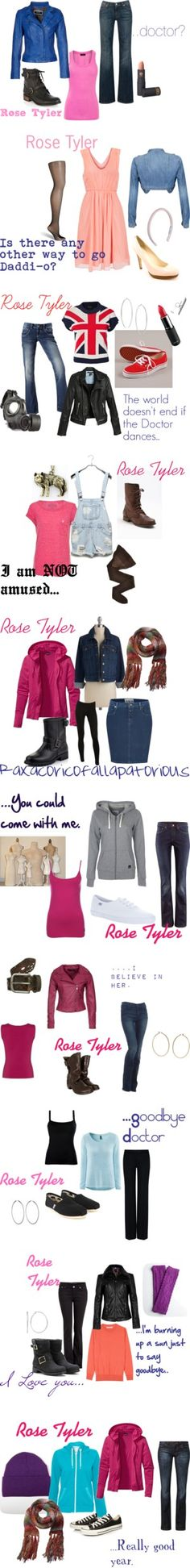 Rose Tyler Doctor who Doctor Who Outfits, Doctor Who Cosplay, Fandom Outfits, Nerd Fashion, Fandom Fashion, Character Inspired Outfits, Rose Tyler, Casual Cosplay, Geek Chic