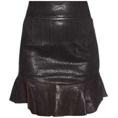 Isabel Marant Bray ruffle-hem leather mini skirt ($816) ❤ liked on Polyvore featuring skirts, mini skirts, black, ruffle hem skirt, short mini skirts, isabel marant, mini skirt and leather mini skirt