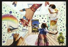 Surreal Rooms - 5th grade - Study in perspective with colored pencil first, then added surreal collage elements.