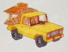 ORIGINAL 1970's SUNSHINE FAMILY DOLL TRUCK w/ CRAFT SHACK CONCEPT ART! Vintage
