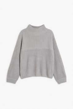 Monki Image 1 of Knit sweater in Grey Light