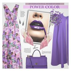 """""""International Women's Day: Purple Power"""" by beautifulplace ❤ liked on Polyvore featuring MSGM, Yves Saint Laurent, Dolce&Gabbana and NOVICA"""