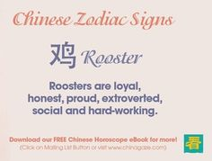 Chinese Zodiac--Rooster