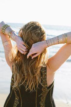 Stk Indian Neue Arabisch Fashion Designs Golden Silber Temporäre Tribal Tattoo Sexy Ungiftiges Metall Tattoo Aufkleber Für Frauen Männer