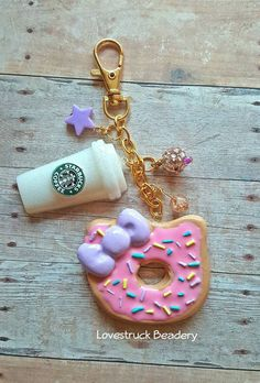 Hello Kitty Donut Purse Charm Hello Kitty by LovestruckBeadery