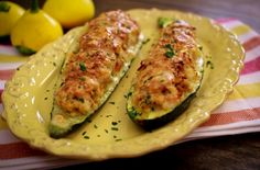 Zucchini proves a cook's creativity and resourcefulness. For some reason, this vegetable, more than anything else in the garden, starts … Zucchini Boat Recipes, Zucchini Boats, Stuffed Zucchini, Diet Recipes, Vegetarian Recipes, Cooking Recipes, Recipies, Good Food, Yummy Food
