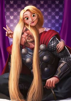 Thorunzel | by outlawzz83 @ DeviantART.com ~ *LOL!* // crossover; disney; tangled; marvel; thor She reminds me of Jane Foster, just a little