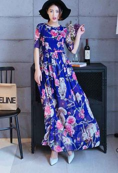 Owl Print Dress Skirt MoppingMaxi Dress Tall Stature In Europe And America Blue JY15041416-01.http://www.clothing-dropship.com