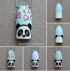 Pin on White Coffin Shaped Nails Pin on White Coffin Shaped Nails Panda Nail Art, Animal Nail Art, Nail Art Hacks, Nail Art Diy, Pretty Nail Designs, Nail Art Designs, Nails Design, Cartoon Nail Designs, Nail Art For Kids