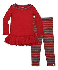 Look what I found on #zulily! Cranberry Boatneck Dress & Leggings - Infant, Toddler & Girls #zulilyfinds