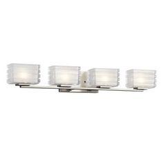 "View the Kichler 45480 Bazely 33"" Wide 4 Light Bathroom Vanity Light at LightingDirect.com."