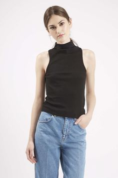 High Neck Ribbed Funnel Top - New In This Week - New In - Topshop Europe