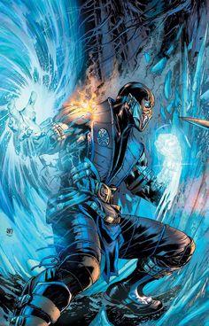 Sub-Zero - Mortal Kombat X by Ivan Reis & Alex Sinclair Sub Zero Mortal Kombat, Art Mortal Kombat, Mortal Kombat Comics, Scorpion Mortal Kombat, Comic Book Covers, Comic Books Art, Comic Art, Rukia Bleach, Claude Van Damme