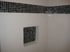 white subway tile with red accent - Google Search