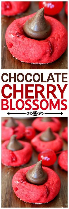 Cherry sugar cookies topped with a Hershey's Kiss. Tastes like a chocolate…