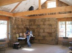 """""""Simple Construction"""" straw bale company - post & beam construction, strawbale insulation. Only, we'd design it modern, too."""
