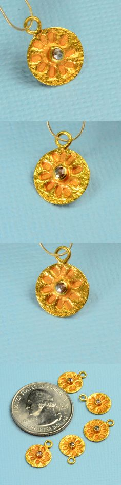 Other Jewelry Design Findings 164356: 18K Solid Yellow Gold Champagne Diamond Sand Dollar Intaglio Charm Pendant BUY IT NOW ONLY: $79.99