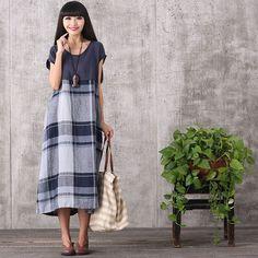 Women summer Plaid stitching loose cotton linen dress
