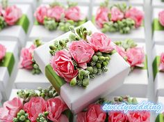 Wedding Favor box,Candy Box ,gift box,white box with pink and green flowers ,DIY  Party Paper Favor Box,wedding favor ,Christmas gift box