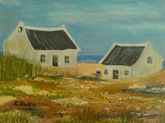 West Coast Fisherman Cottage - Set of 2 White Cottage, Kitchen Stuff, West Coast, South Africa, Cabin, Paintings, Canvas, House Styles, Creative