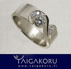 Sormus, valkokulta, Taigakoru, MS76. Diamond ring, white gold, Taigakoru. www.taigakoru.fi