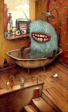 Bathtub is a 1000 piece jigsaw puzzle by Heye Puzzles from the Zozoville collection featuring a blue furry monster taking a bath. Monster Illustration, Children's Book Illustration, Magazine Illustration, Street Art, Out Of Body, Cute Monsters, Monster Art, Monster Design, Pop Surrealism