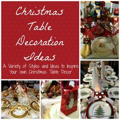 Christmas Table Decorations - A bunch of great ideas for inspiration in Christmas table decor. Meaningful Mama.