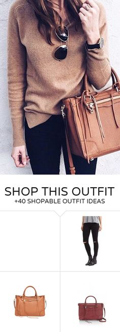 #winter #fashion /  Camel Knit / Camel Leather Tote Bag / Black Skinny Jeans