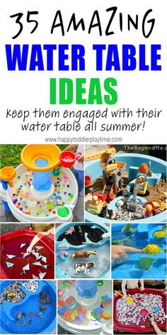 35 Amazing Water Table Ideas to keep your toddler or preschooler entertained and engaged with their water table all summer long! Water Table Toy, Toddler Water Table, Toddler Play Yard, Toddler Fun, Toddler Learning, Toddler Preschool, Toddler Crafts, Early Learning, Kid Crafts