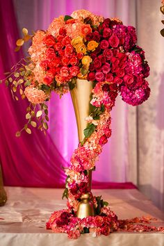 Fuschia and Red cascading florals Bollywood - Stage Florals - #dramatic #vibrant Design :: Blue Lotus Insights Decor & Florals :: Bloom Box