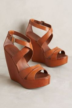 12 Stunning High Heels and Wedges To Wear This Summer - Outstanding Shoes & Fashion Outfit. Would Combine With Any Piece Of Clothes. The Best of wedges in Cute Shoes, Me Too Shoes, Just Keep Walking, Zapatos Shoes, Brown Wedges, Brown Leather Wedges, Crazy Shoes, Wedge Shoes, Wedge Sandals