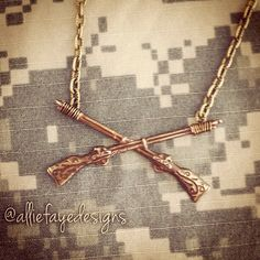 Infantry Crossed Rifles Military Necklace by alliefayedesigns, $18.00