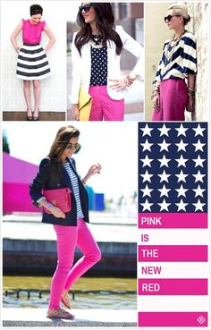 Pink is the New Red! Navy + Pink + White ( I love pink, but it could never replace red...EVER! )