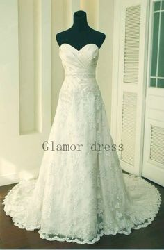 sweetheart lace wedding dresses    white lace wedding gowns with train    cheap bridal dress