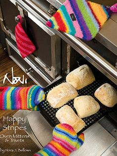 Noni Happy Stripes Oven Mittens & Trivets Pattern No. 502 - Knitting and crochet yarn, patterns, knitting bags, needles and notions. Crochet Mittens, Crochet Yarn, Crochet Hooks, Spa Outfit, Crochet World, Knitted Bags, Crochet Doilies, Diy Craft Projects, Hot Dog Buns