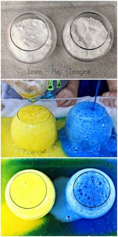 Exploring color theory with baking soda and vinegar eruptions - simple science for kids!