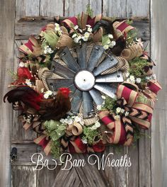 Rooster Wreath Country Wreath Rooster Decor by BaBamWreaths