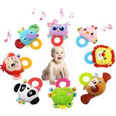 Baby Tier Hand Glocke Rassel Spielzeug Eule Panda Ring Beißringe Rasseln Weiche Musical Plüsch Puppe für Neugeborene Kleinkinder Lernspielzeug