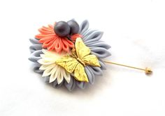 Butterfly Lapel Pin Unique Fabric Flower by ScarlettandMaria
