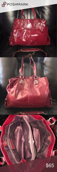 """Authentic Coach Patent Leather Ashley Carry All Great used condition. Has some white spots. Needs minor cleaning inside. No tears   Smoke free          Deep red Patent leather silver tone hardware  Inside zip, cell phone and multifunction pockets turnlock closure, fabric lining Handles with 6"""" drop Longer strap for shoulder wear Dimension: 12 1/2"""" x 8"""" x 4 1/2"""" Coach Bags Satchels"""