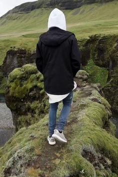 Justin Bieber wearing  Amiri Leather Inset Distressed Jeans, Off-White c/o Virgil Abloh Caravaggio Sweatshirt, Icewear Daniel Ice-Softshell 3 Layer Technical Jacket, Adidas Mens Yeezy Boost 350