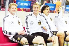 André Schürrle, Marco Reus and Mats Hummels of Die Deutsche Fußballnationalmannschaft