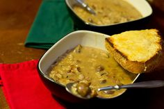 Cream of mushroom soup with Swiss-parmesan toast. Fancy not fancy has never been so easy! | dinner recipe from Chattavore.com