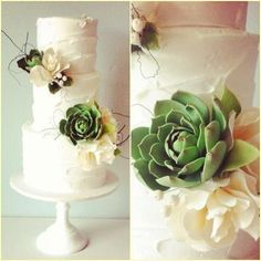 botanical wedding cake with succulents by Yummy Cupcakes and Cakes - Cake Geek Magazine Succulent Wedding Cakes, Succulent Cupcakes, Fondant Flowers, Sugar Flowers, Gorgeous Cakes, Pretty Cakes, Wedding Cake Designs, Wedding Cake Toppers, Wedding Cake Rustic